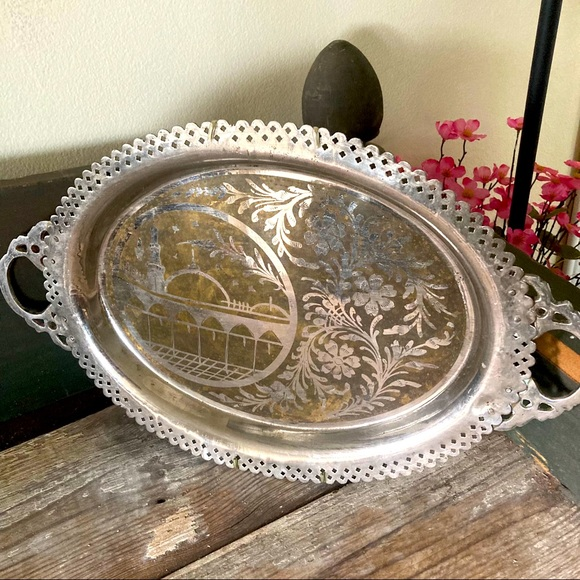 Vintage Turkish Tray Handled Serving Silver Tone